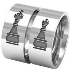 COI Tungsten Carbide King Queen Chess Pipe Cut Ring-5329