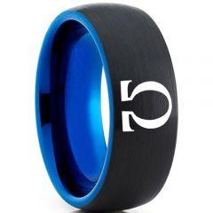 COI Tungsten Carbide Black Blue Omega Dome Court Ring-5330