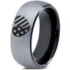 COI Tungsten Carbide Black Silver America Heart Dome Court Ring-5332