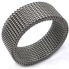 COI Titanium Black/Gold Tone/Silver Mesh Ring-5351