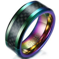 COI Tungsten Carbide Rainbow Pride Ring With Carbon Fiber-5353