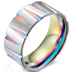 COI Titanium Grooves Rainbow Pride Ring-5376