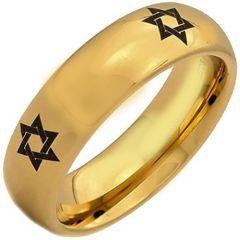 COI Gold Tone Tungsten Carbide Star of David Dome Court Ring-5380