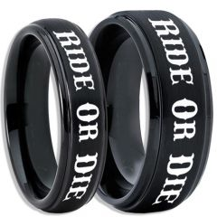 COI Black Tungsten Carbide Ride or Die Step Edges Ring-5406