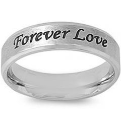 COI Tungsten Carbide Forever Love Beveled Edges Ring-5419
