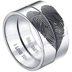 COI Tungsten Carbide Custom Heart Fingerprint Pipe Cut Ring-5431