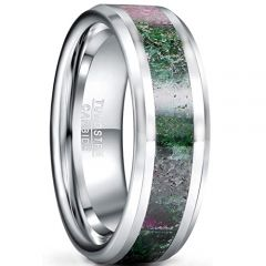 COI Tungsten Carbide Ruby Zoisite Inlays Beveled Edges Ring-5433