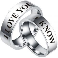 COI Tungsten Carbide I Know I Love You Pipe Cut Flat Ring-5435