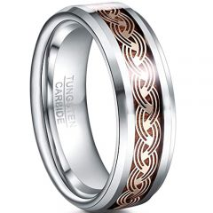 COI Tungsten Carbide Celtic Inlays & Wood Beveled Edges Ring-5436