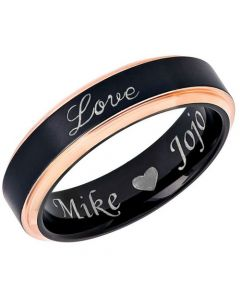 COI Tungsten Carbide Black Rose Love Step Edges Ring-5448