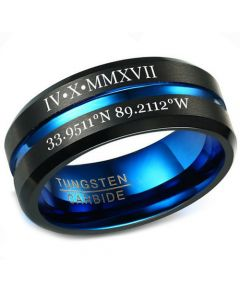 COI Tungsten Carbide Black Blue Center Groove Ring With Custom Roman Numerals-5455