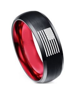 COI Tungsten Carbide Black Red American Flag Beveled Edges Ring-5462