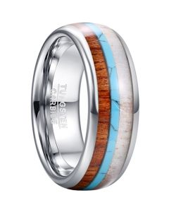 COI Tungsten Carbide Deer Antler Wood Turquoise Dome Court Ring-5464