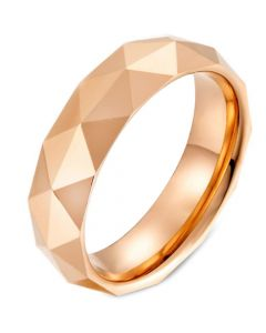 COI Tungsten Carbide Silver/Rose/Gold Tone Faceted Ring-5475