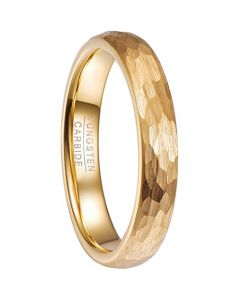 COI Gold Tone Tungsten Carbide Hammered Dome Court Ring-5478