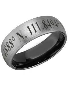 COI Tungsten Carbide Black Silver Custom Co-ordinate Dome Court Ring-5481