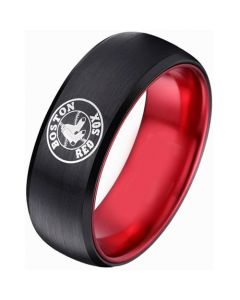 COI Tungsten Carbide Black Red Boston Red Sox Beveled Edges Ring-5482