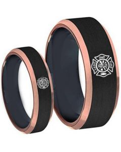 COI Tungsten Carbide Black Rose Firefighter Beveled Edges Ring-5487