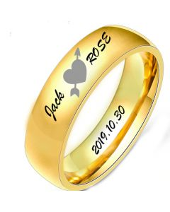 COI Gold Tone Tungsten Carbide Heart Dome Court Ring With Custom Names Engraving-5496