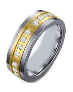 COI Tungsten Carbide Gold Tone Silver Ring With Cubic Zirconia-5497