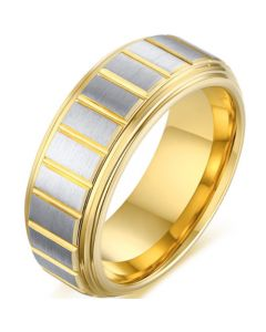 COI Tungsten Carbide Gold Tone Silver Grooves Step Edges Ring-5498