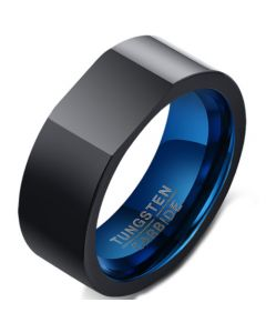 COI Tungsten Carbide Black Blue Signet Ring With Custom Engraving-5499
