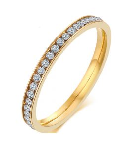 COI Gold Tone Titanium Ring With Cubic Zirconia-5542