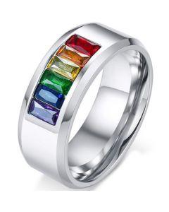 COI Titanium Rainbow Pride Ring With Cubic Zirconia-5548