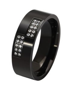 COI Black Titanium Pipe Cut Flat Ring With Cubic Zirconia-5579