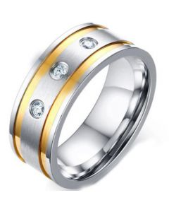 COI Titanium Gold Tone Silver Double Grooves Ring With Cubic Zirconia-5581