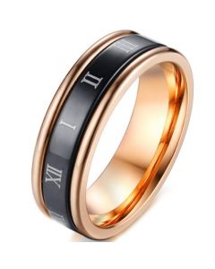 COI Tungsten Carbide Black Rose Step Edges Ring With Roman Numerals-5589