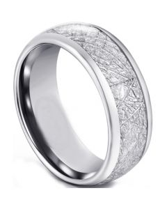 COI Tungsten Carbide Dome Court Ring With Meteorite-5592
