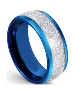 COI Blue Tungsten Carbide Dome Court Ring With Meteorite-5593