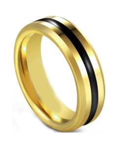 COI Tungsten Carbide Black Gold Tone Center Groove Beveled Edges Ring-5597