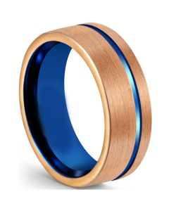COI Tungsten Carbide Blue Rose Offset Groove Ring-5610