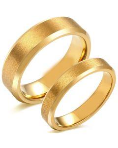COI Gold Tone Tungsten Carbide Sandblasted Beveled Edges Ring-5618