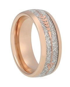 COI Rose Tungsten Carbide Dome Court Ring With Meteorite and Arrows-5619