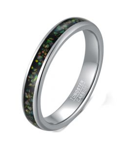 COI Tungsten Carbide Dome Court Ring With Crushed Opal-5621