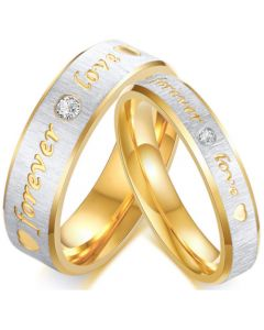 COI Titanium Gold Tone Silver Forever Love Ring With Cubic Zirconia-5633