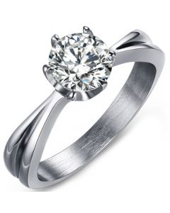 COI Titanium Solitaire Ring With Cubic Zirconia-5636