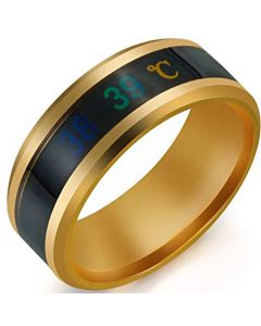 COI Tungsten Carbide Black Gold Tone Temperature Sensor Beveled Edges Ring-5664