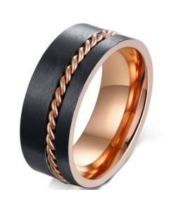 COI Tungsten Carbide Black Rose Pipe Cut Flat Ring With Wire-5667