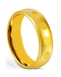 COI Gold Tone Tungsten Carbide Faceted Beveled Edges Ring-5672