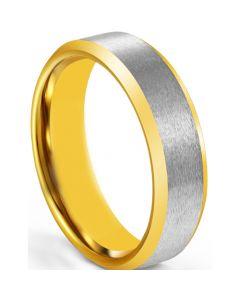 COI Tungsten Carbide Gold Tone Silver Polished Matt Beveled Edges Ring-5674