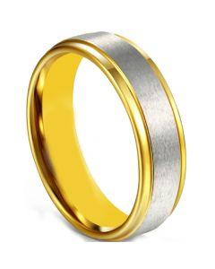 COI Tungsten Carbide Gold Tone Silver Polished Matt Step Edges Ring-5675