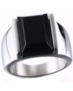 COI Titanium Ring With Black Agate-5703