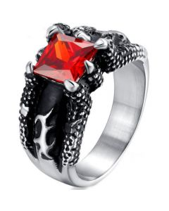 COI Titanium Ring With Created Red Ruby-5704