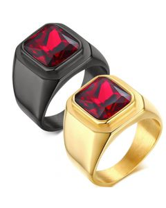 COI Titanium Black/Gold Tone Ring With Created Red Ruby-5714