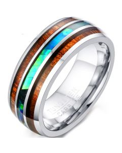 COI Tungsten Carbide Abalone Shell and Wood Dome Court Ring-5728
