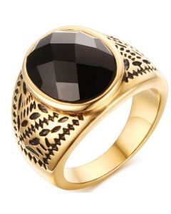 COI Titanium Black Gold Tone Ring With Black Agate-5764